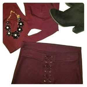 Burgundy Lace-Up Pencil Skirt